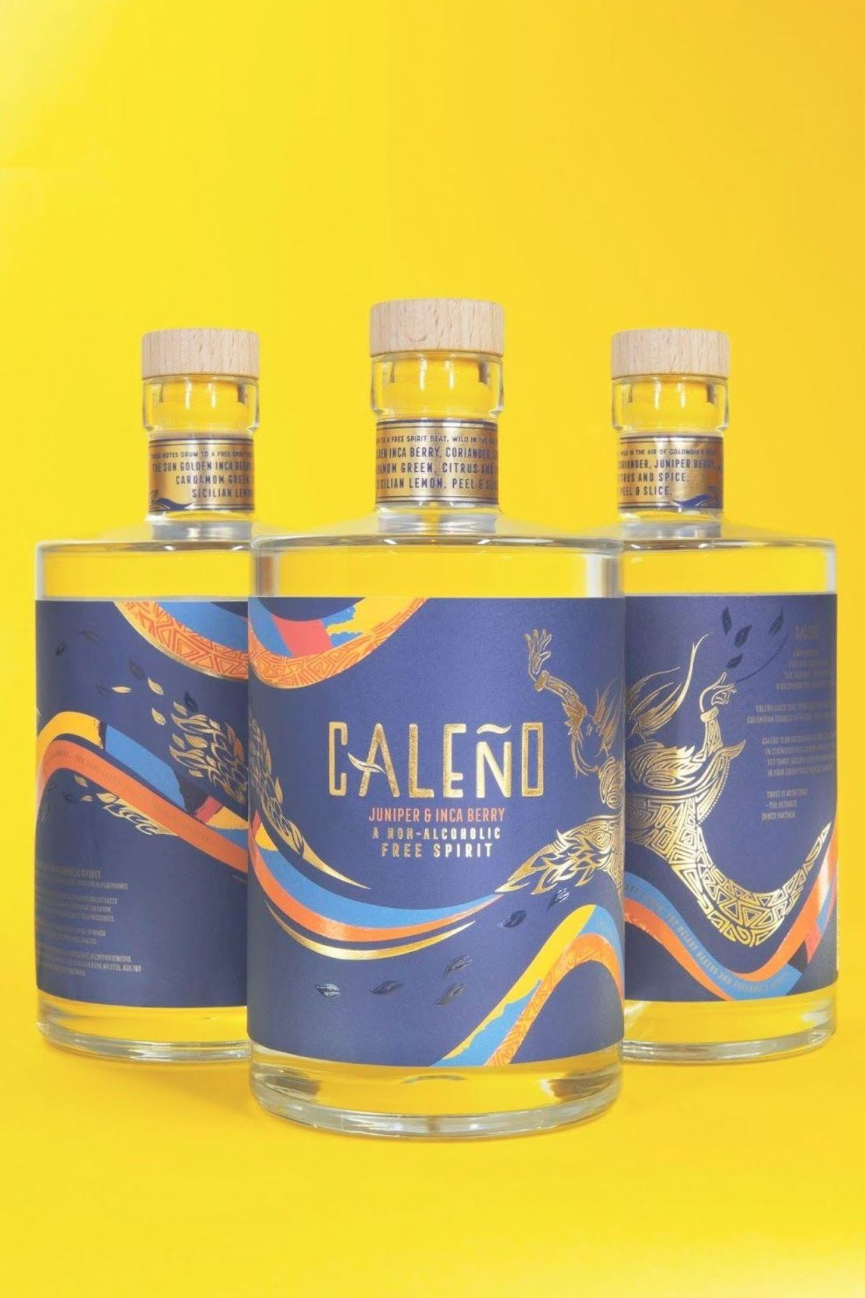 Caleño a new, nonalcoholic spirit brand on Packaging of