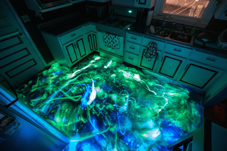 I Made A Hidden Glow In The Dark Galaxy In My Resin Kitchen Floor Https Ift Tt 2enppjn Kitchen Flooring Epoxy Resin Flooring Dark Galaxy