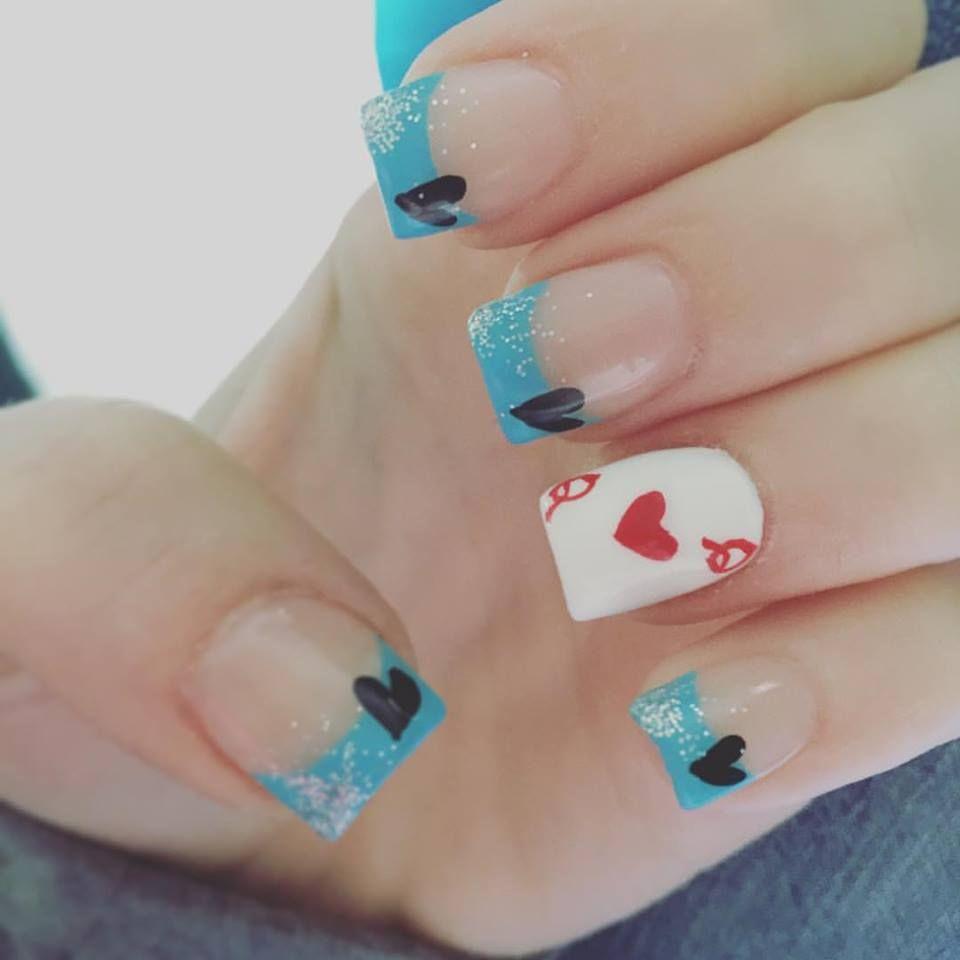 Alice in wonderland Nails Acrylic hearts alice nails | nails | Pinterest