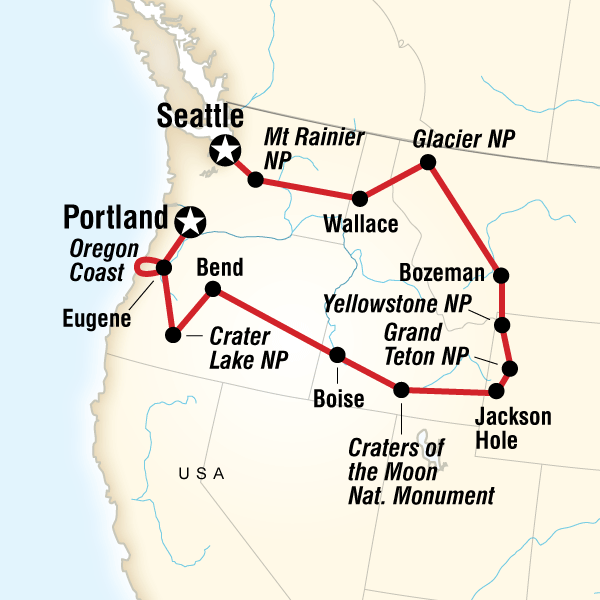 Map of the route for National Parks of the Northwest US in ...