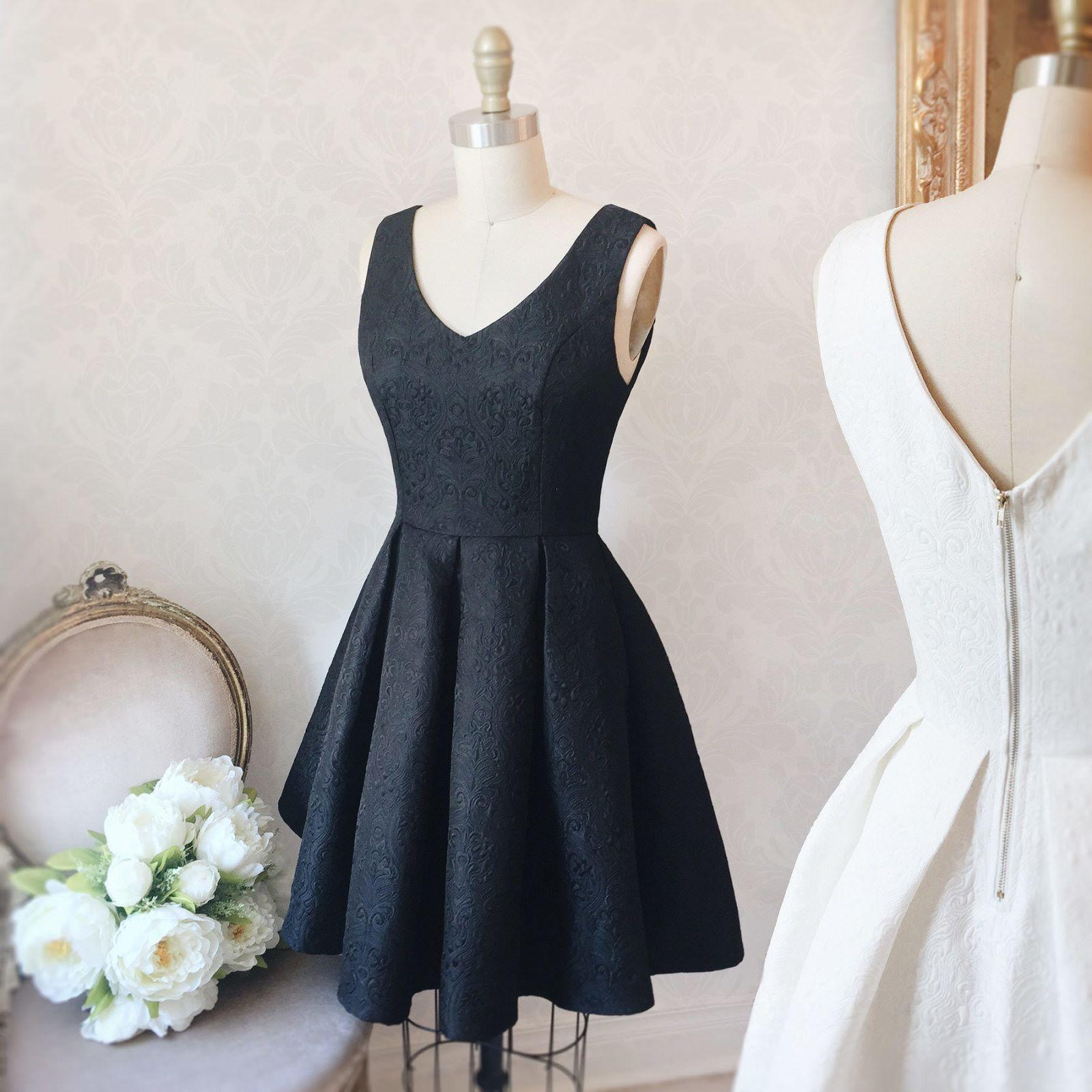 Teana black vintage prom robe and elegant cocktail dress