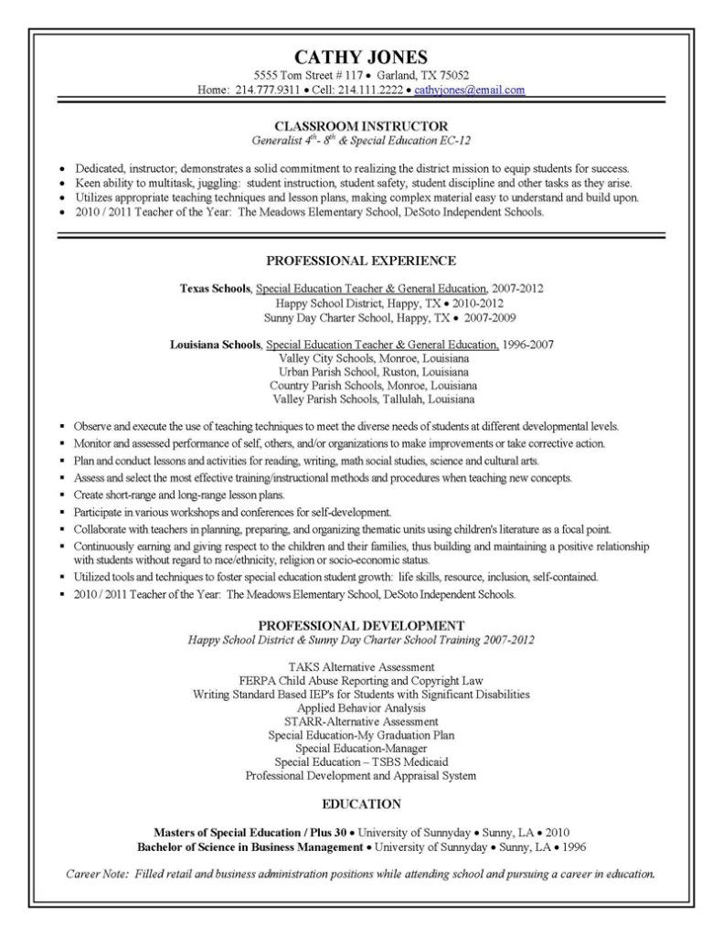 Special Education Teacher Resume Image Elementary
