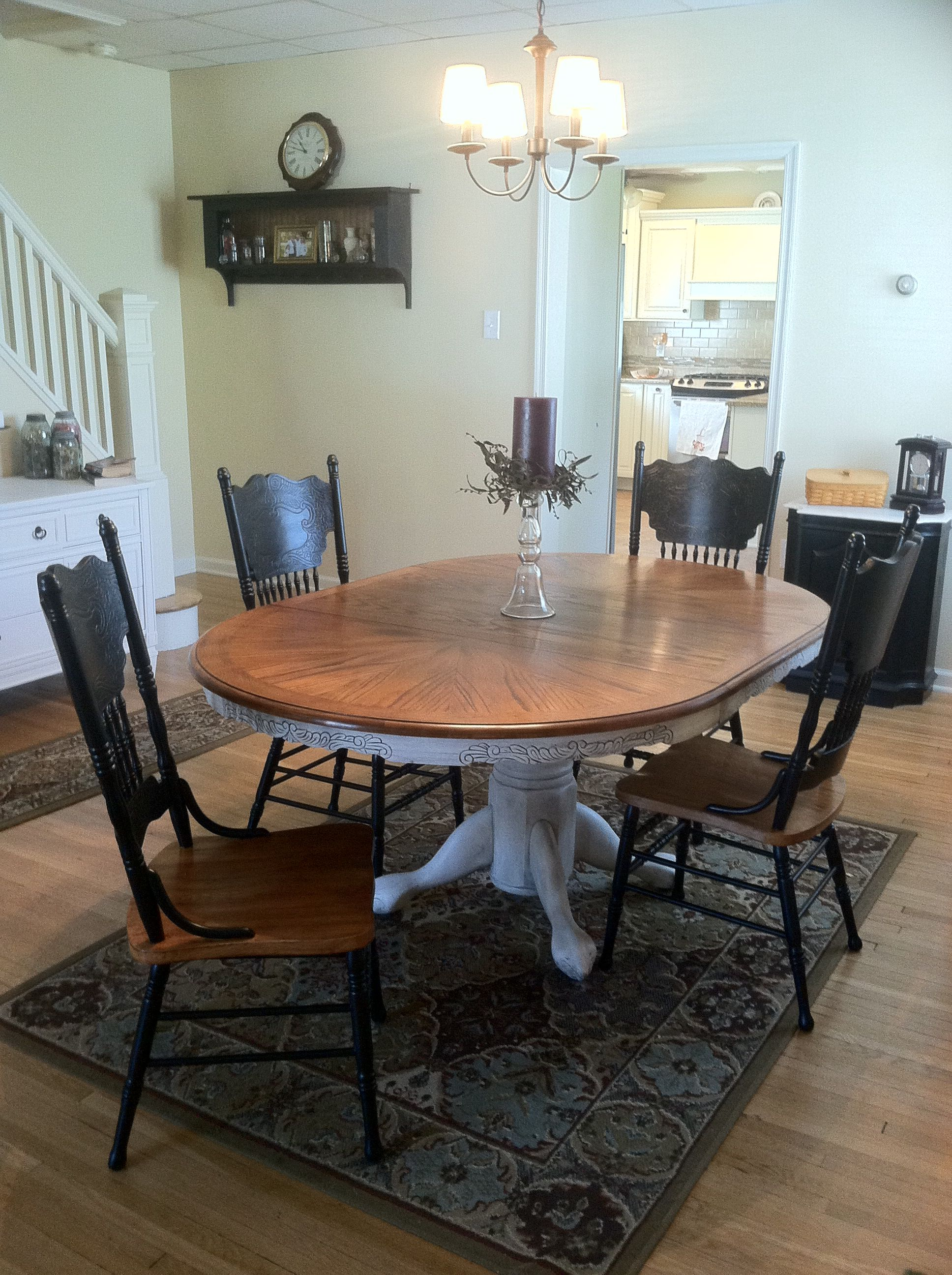 Pressback Table And Chairs Redo Originally A Light Oak Set From The 90 S Restained A Bit Darker And Pai Oak Dining Room Oak Dining Room Set Dining Room Table