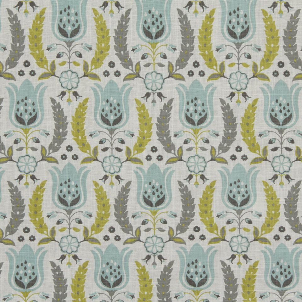 Aqua and Grey Floral Cotton Upholstery Fabric - Yellow Grey Floral ...