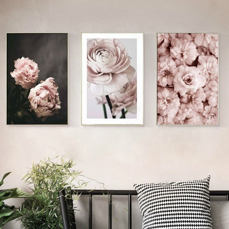 Romantic Pink Flowers Printed Canvas Artwork In 2020 Rose Wall Art Flower Painting Canvas Wall Art Pictures