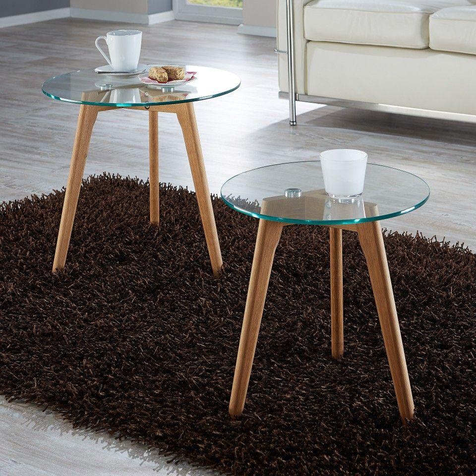 couchtisch falsled (2er-set, eiche-massivholz, glas), Moderne