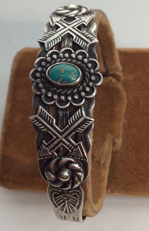 Vintage NavaJo Fred Harvey Era Sterling Turq Cuff Bracelet Silver Arrow (c119) #FredHarveyJewelry
