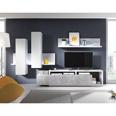 Wohnwand Bota Anbauwand Wohnkombination Wohnzimmer in weiß und Beton ...