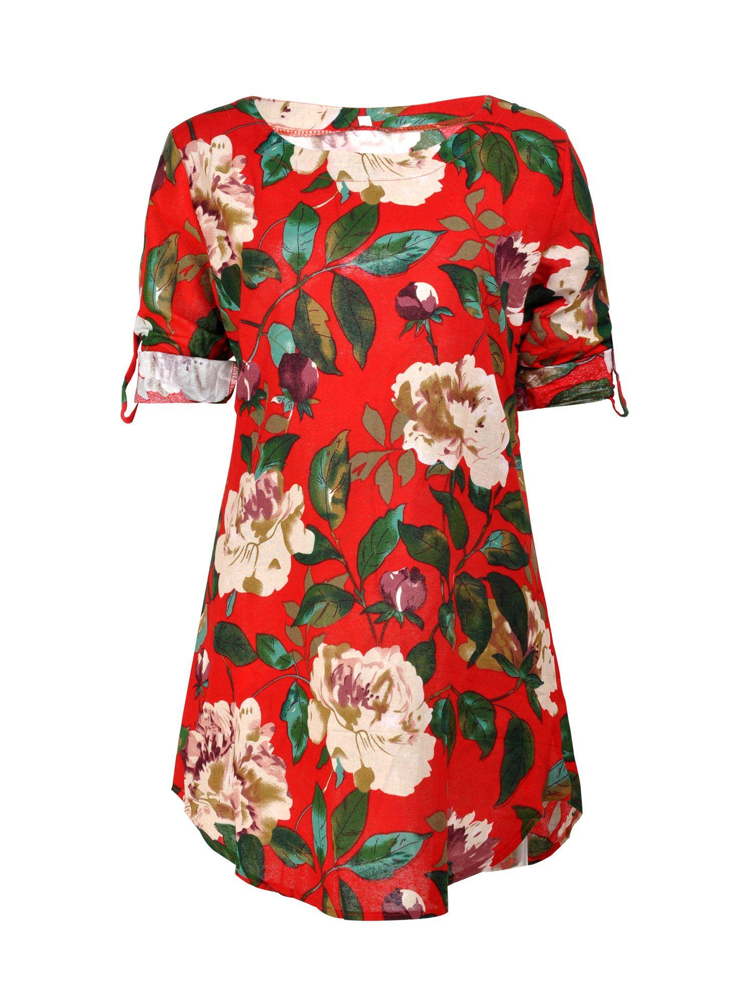 Summer Women Short Sleeve Casual Floral Top Sundress Party Plus Size Mini Dress