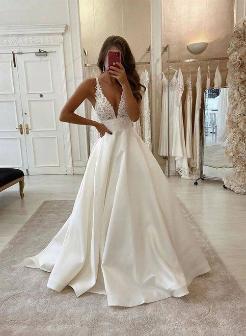 White v neck satin lace long wedding gowns with pockets