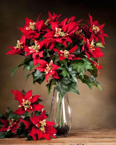 Poinsettia Silk Flower Stem Red As Low As 2400 Mauvecream