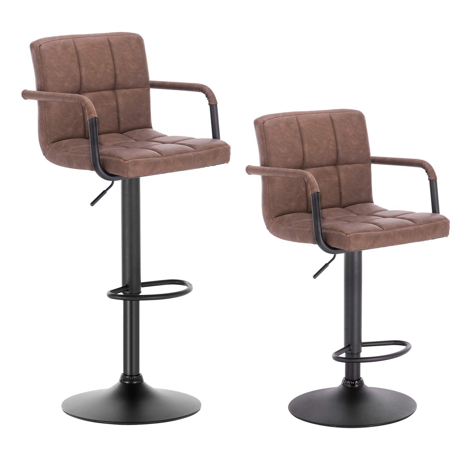WOLTU Bar Stools Dark Brown Bar Chairs Breakfast Dining Stools for ...
