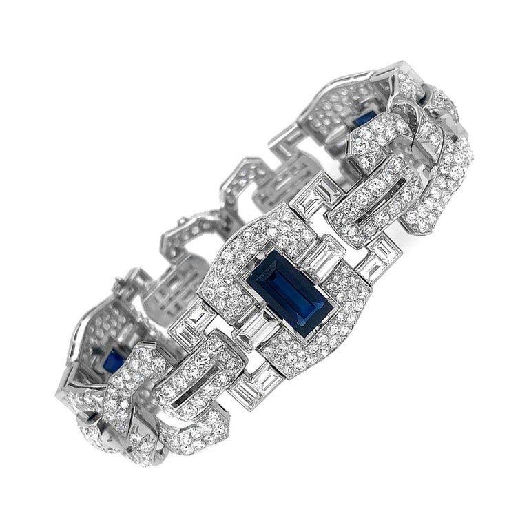 Art Deco Platinum 8 Carat Sapphire 25 Carat Diamond Bracelet In 2020 White Gold Bracelet Diamond Bracelet 12 Carat Diamond