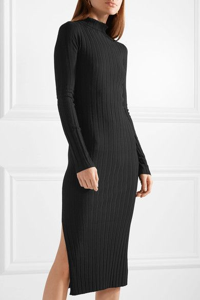 37a1419bfa37 Theory - Ribbed-knit turtleneck midi dress