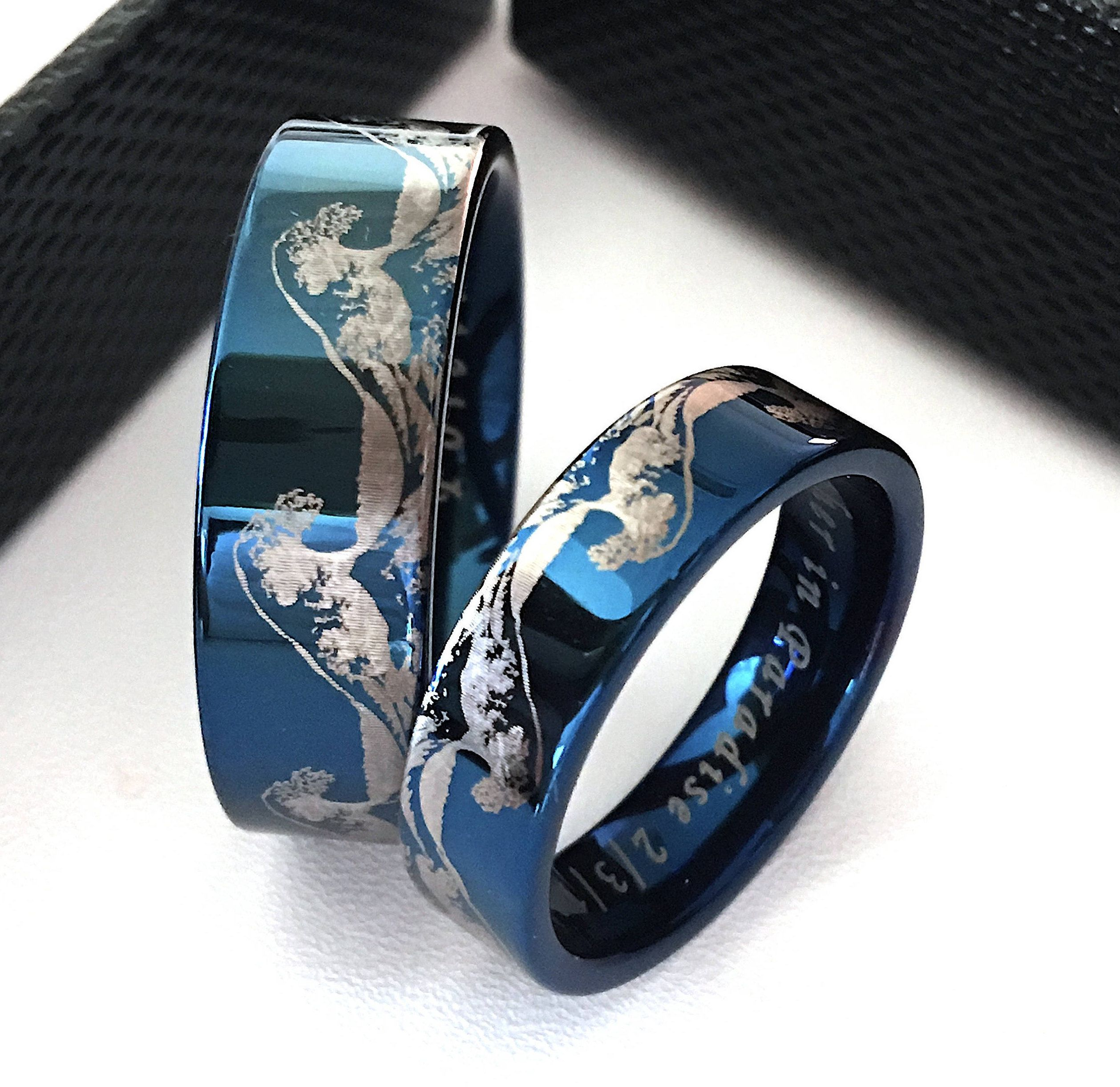 ring rings band abalone tungsten pin meteorite wedding