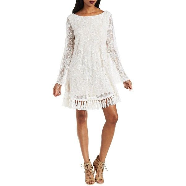 7578ac5bc5 Charlotte Russe White Ark   Co Lace   Tassel Shift Dress by Ark   Co...  ( 73) ❤ liked on Polyvore featuring dresses