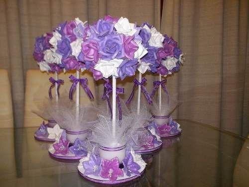 Topiarios de flores en goma eva ideal para centro de for Ornamentacion para 15