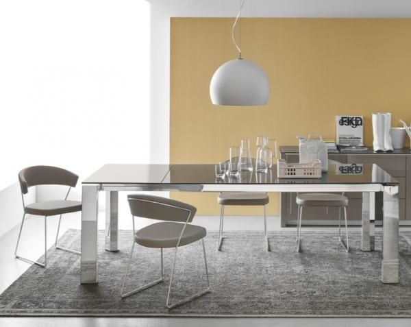 Gate Modern Extending Dining Table With A Taupe Glass Top And Chrome Legs By Calligaris