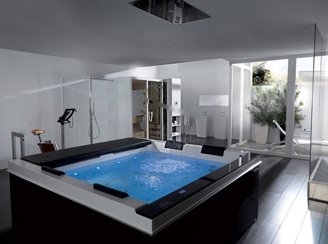 home spa style jacuzzi with therapeutic water jets and built in