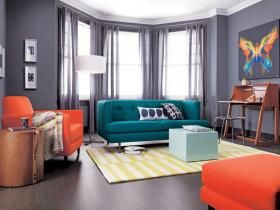 Teal Sofa With Orange And Grey Accents Sofa Colors Home