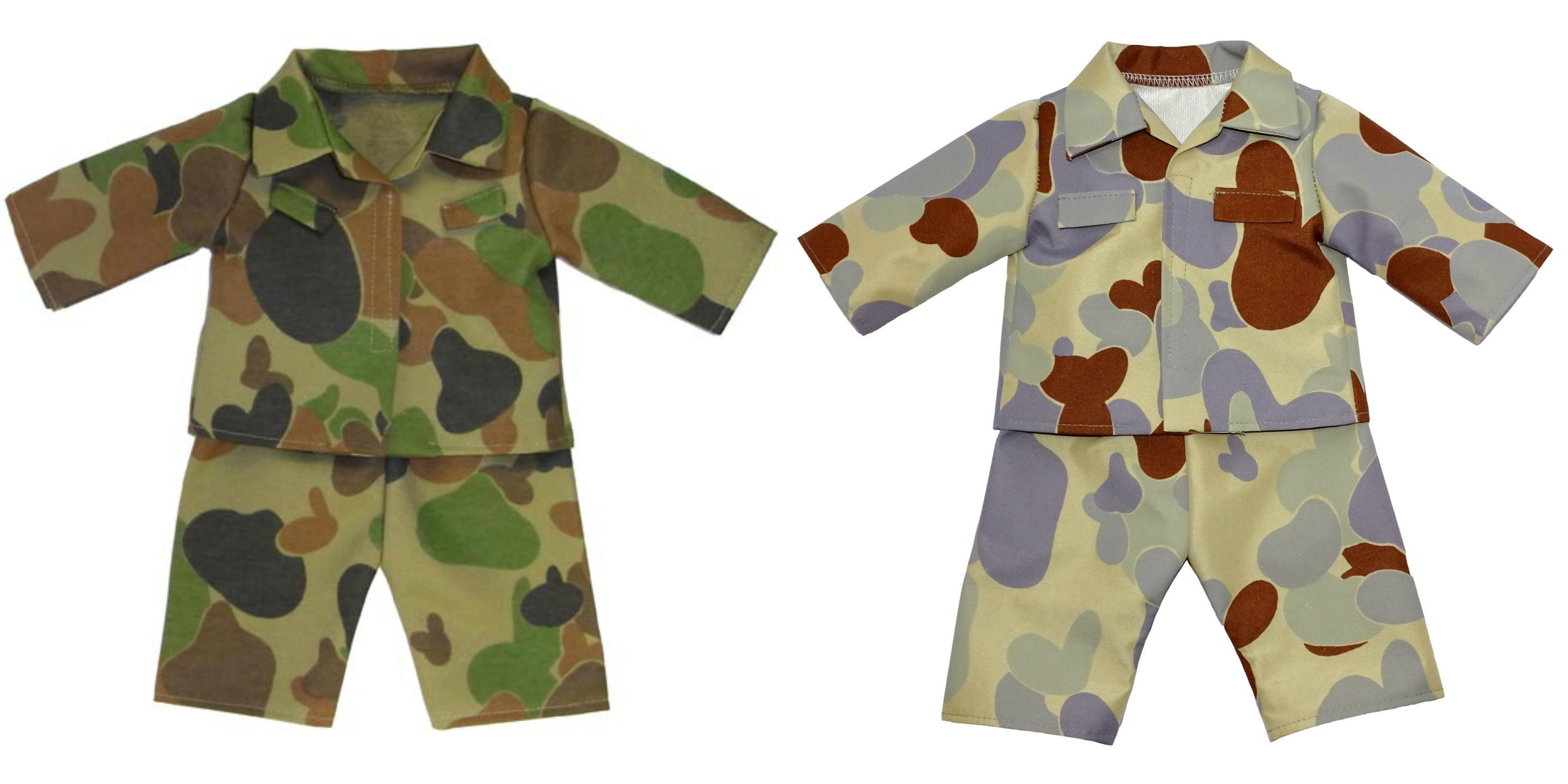Army Uniform #boydollsincamo Both boy & girl dolls can now be part of the Australian Army too in this great camouflage print uniform! Pants have elastic waist and top fastens at the front with a Velcro strip.  * Boots shown on Baby Born are sold separately under 'Shoes & Socks'.  ** Available in Desert Print or Camo Print. #boydollsincamo Army Uniform #boydollsincamo Both boy & girl dolls can now be part of the Australian Army too in this great camouflage print uniform! Pants have elastic waist #boydollsincamo