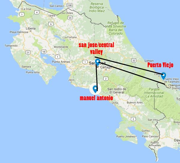 costa rica central valley map 10 Day Costa Rica Itinerary Caribbean Central Valley And Manuel costa rica central valley map