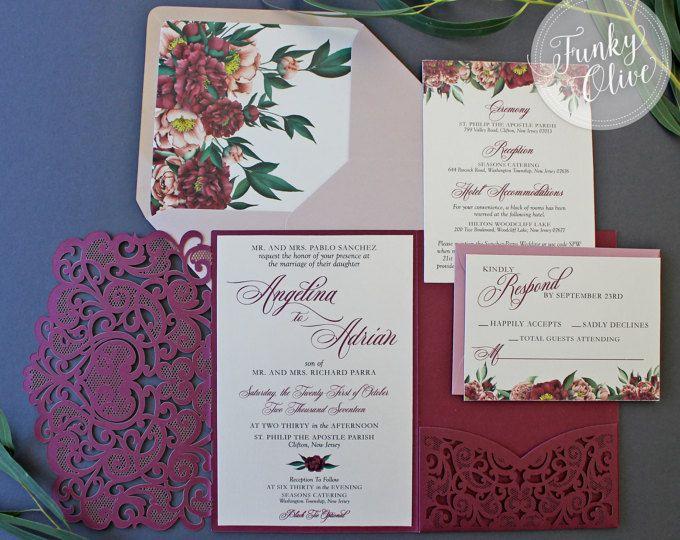 Laser Cut Wedding Invitation Package Burgundy Navy Gold Glitter