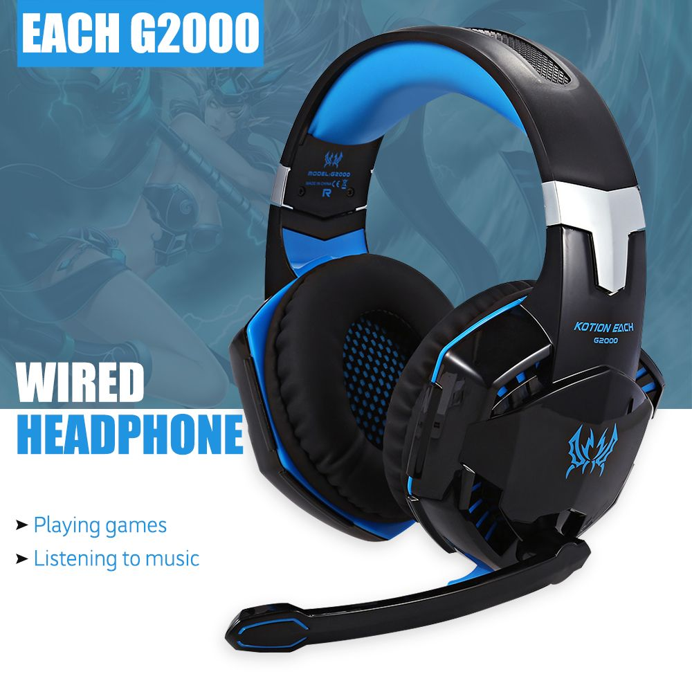 EACH G2000 Gaming Headset Stereo Sound 2.2m Wired Headphone Voice ...
