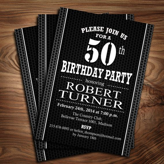 50th birthday invitation 30th 40th 60th 70th 80th 90th black white adult birthday party invitation by thestardustfactory filmwisefo Image collections