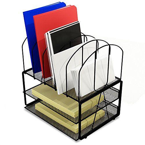 Desk Organizer Small Footprint Wire Mesh File Holder, Bla... http ...