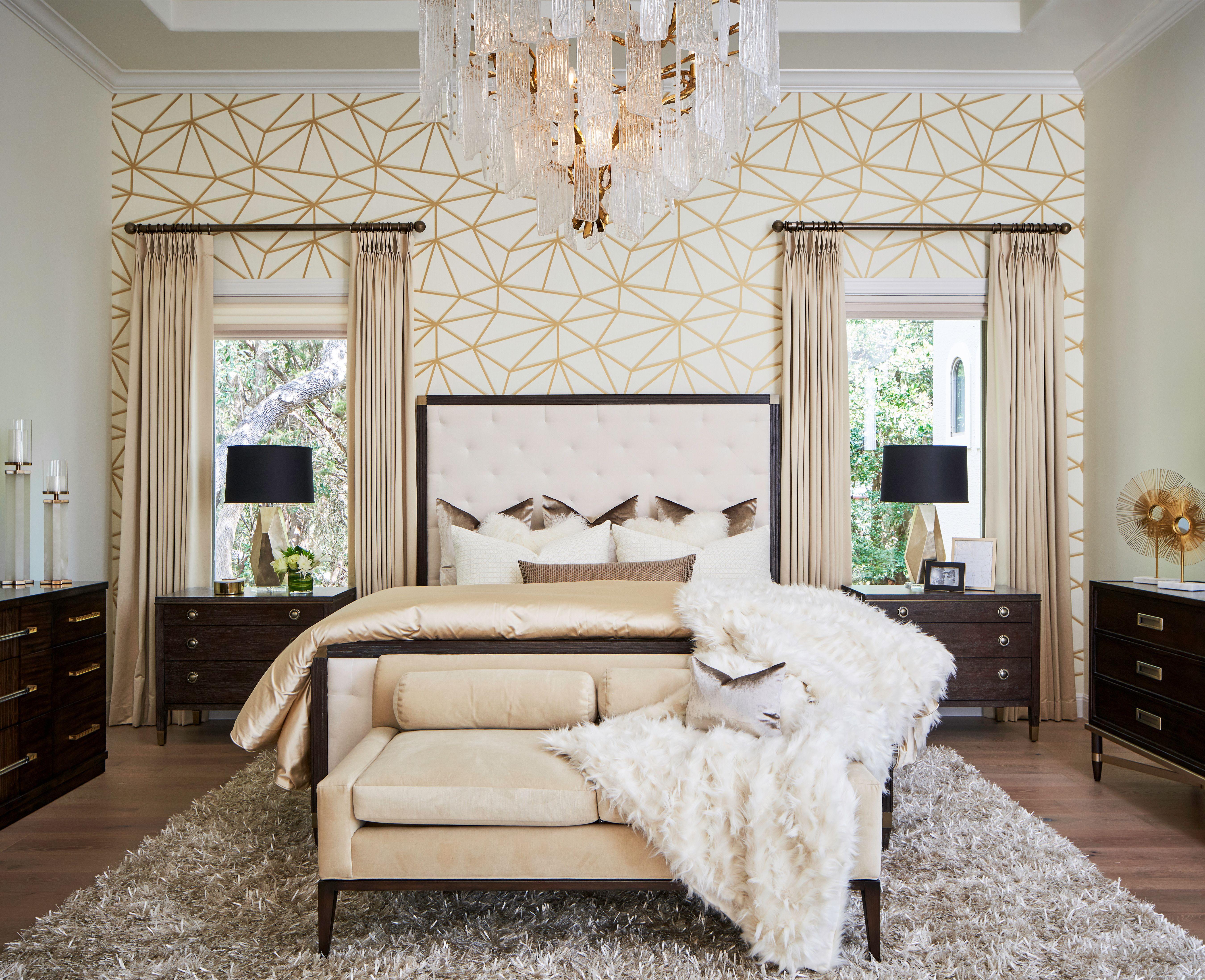 Gold Cream Geometric Wallpaper Dream Master Bedroom Master Bedroom Wallpaper Accent Wall Master Bedroom Accents Bedroom Wallpaper Accent Wall