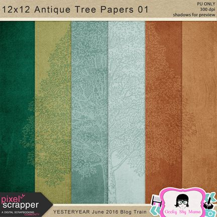 FREE Antique Tree Papers -Pixel Scrapper Blog Train June