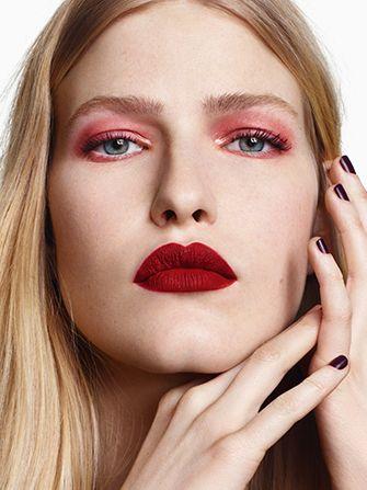 Topshop Red Lipstick Pink Eyeshadow Beauty Look Pink Eyeshadow