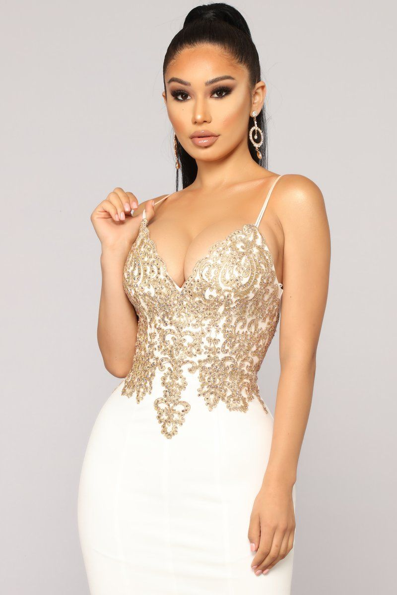 Evening In Paris Embellished Dress - Cream  10917f639