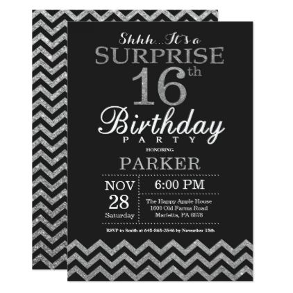 Surprise 16th Birthday Invitation Silver Glitter