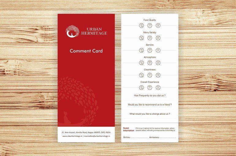 Restaurant Comment Cards Template Inspirational Urban