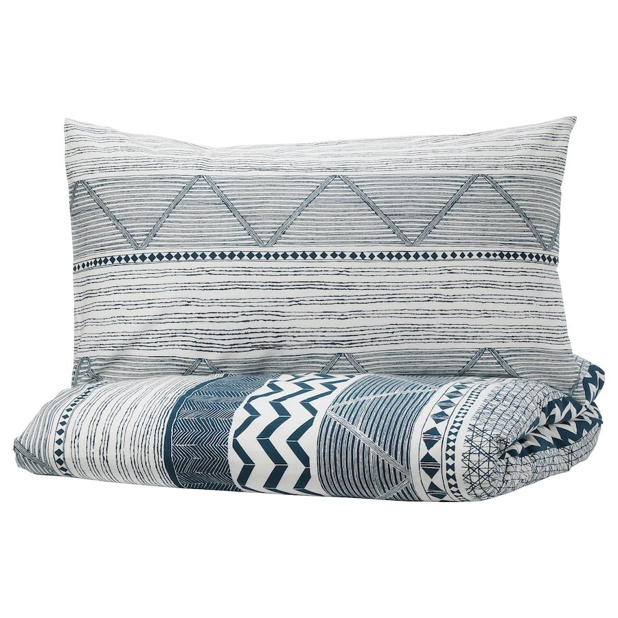 Promo Literie Ikea Provinsros Duvet Cover And Pillowcase S White Blue En 2019