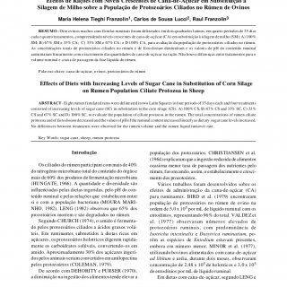 Rev. bras. zootec., 29(5):1452-1457, 2000 Efeitos de Rações com Níveis Crescentes de Cana-de-Açúcar em Substituição à Silagem de Milho sobre a População de. http://slidehot.com/resources/cana-de-acucar-e-protozoarios.24736/