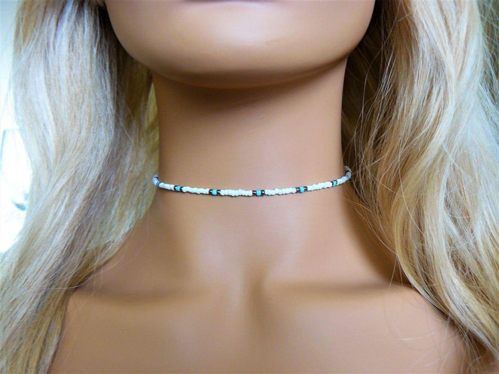 Glass Necklace Beaded Choker White Choker Beaded Necklace Glass Necklace you choose color