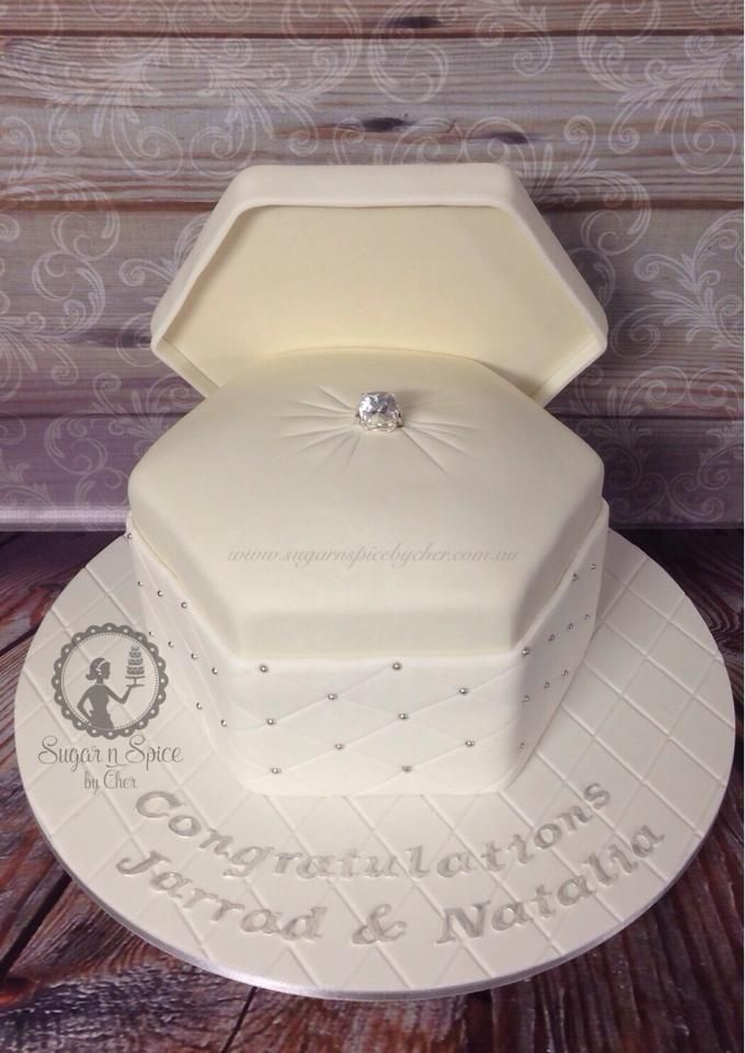 Engagement Ring Box Cake In White Ivory All Edible Sugarnspicebycher