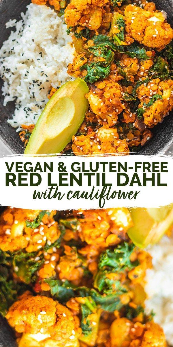 Vegan Red Lentil Cauliflower Dahl Gluten Free