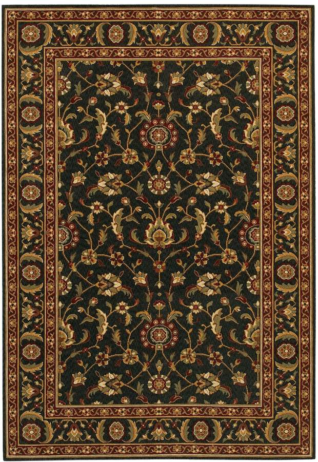 Couristan Royal Brentwood Luxury Framed Floral Wool Rug In 2020 Couristan Rugs Black Rug