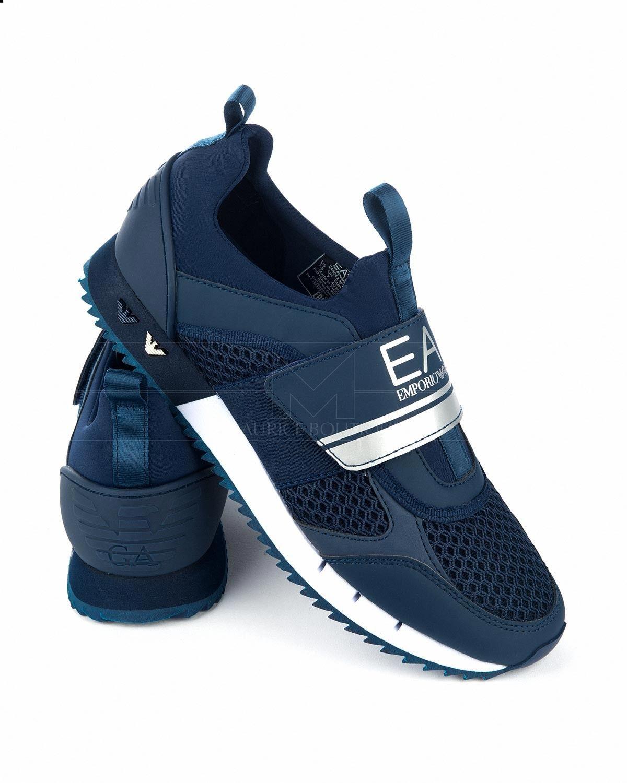 ccf255a1 Zapatillas EMPORIO ARMANI EA7 ® Azul Marino Logo Plata | ENVÍO GRATIS Zapatos  Azules Hombre,