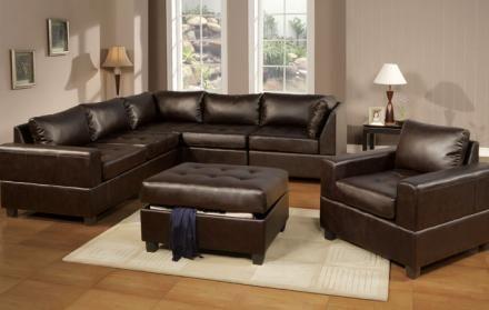 Oversized Matrix Cube Bonded Leather Modular Sectional Sofa