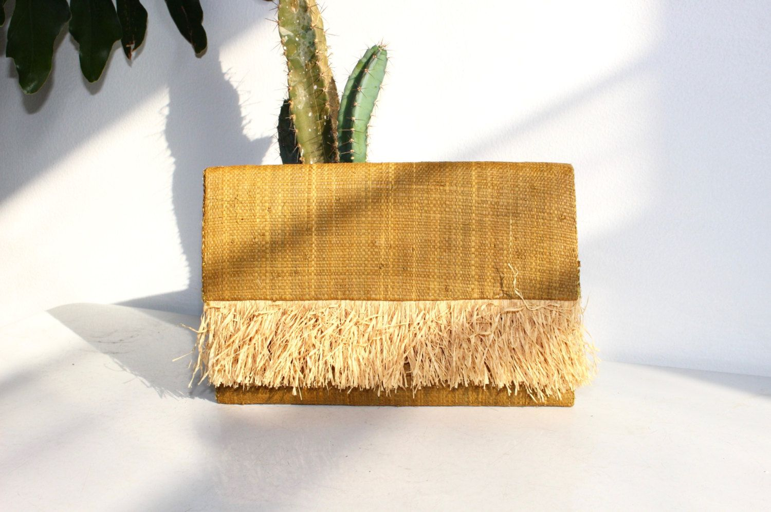 40s Straw Naturalist Clutch by FengSway on Etsy