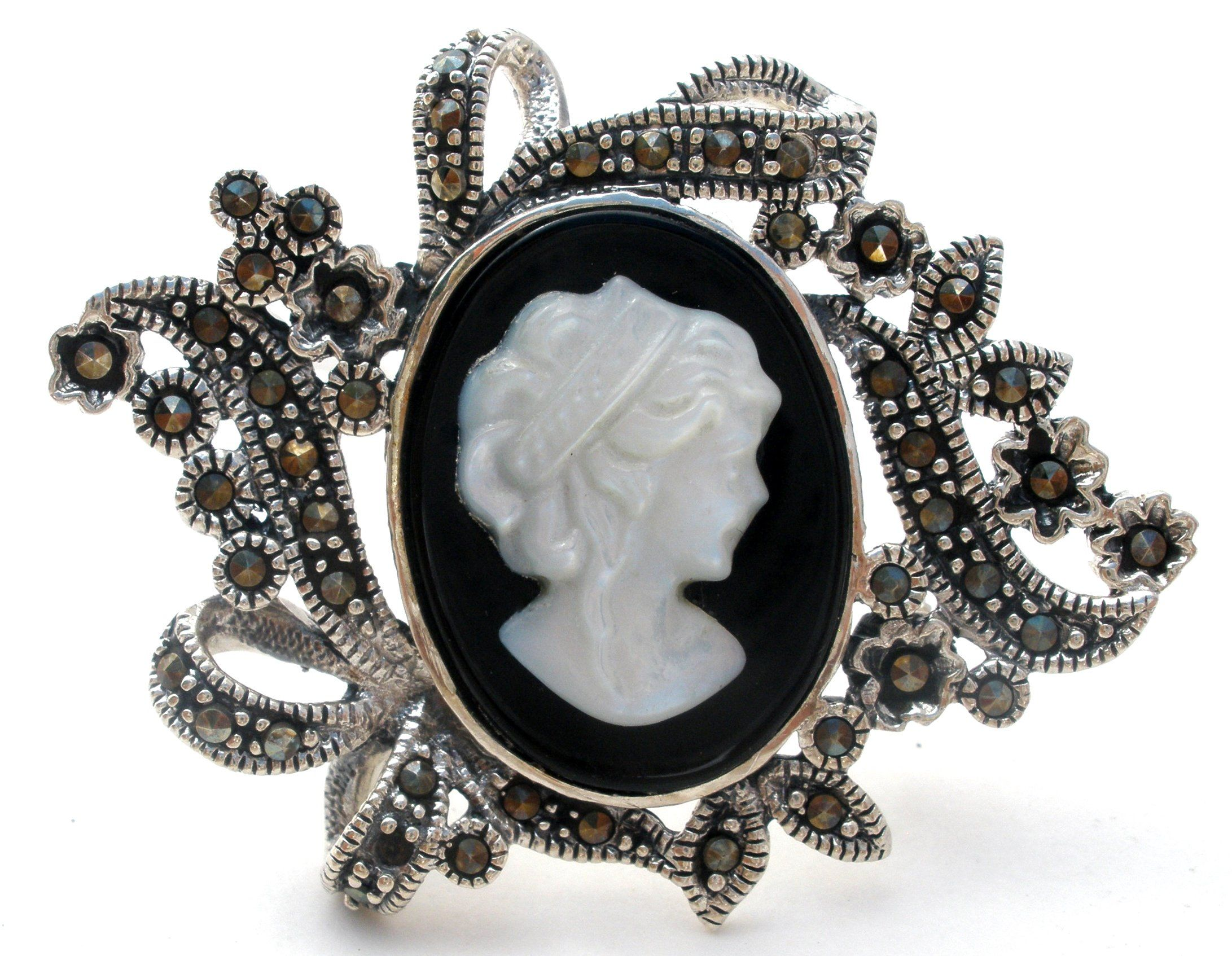 Sterling Silver MOP U0026 Marcasite Cameo Brooch Pin