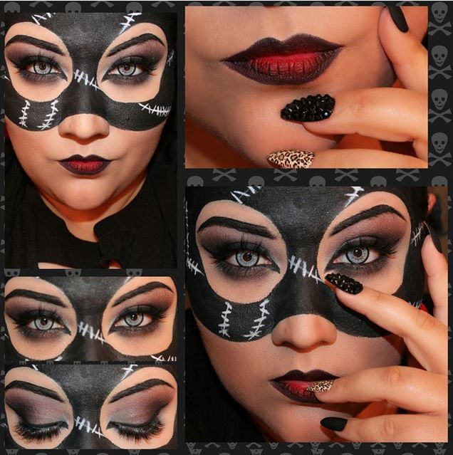 Disfraces Halloween 2020 Cat Woman Catwoman Makeup, I did for fun. Mask is actually painted on :D