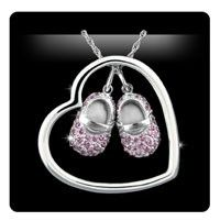 Heart-n-Sole 14K White Gold Necklace with Pink Sapphire Baby Shoes