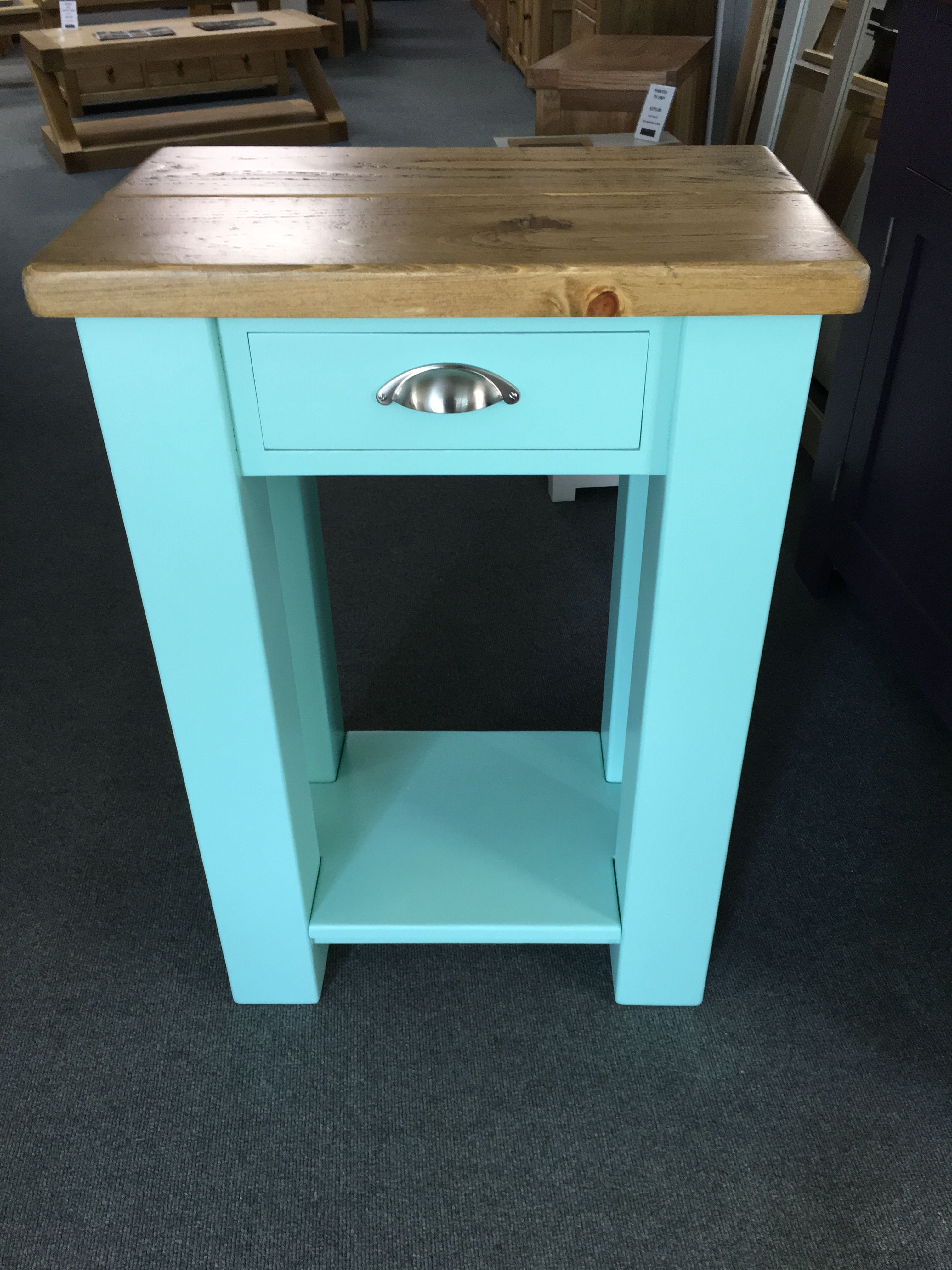 Small kitchen Island unit painted in Peppermint with a Rustic Plank ...
