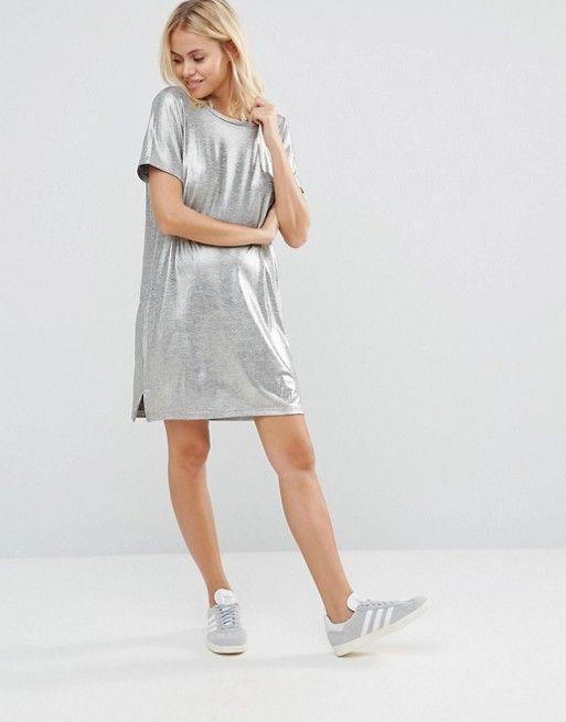 ec870381dca9 Vila Metallic T-Shirt Dress | Dresses | T shirt dress asos, Shirt ...